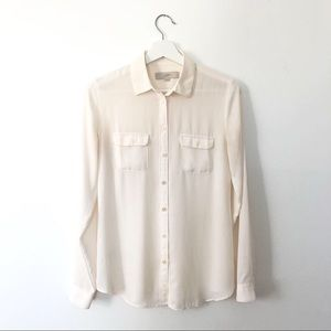 Ann Taylor LOFT Button Up Utility Blouse in Cream